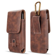 Premium Vertical Leather Pouch Case with Carabiner Clip - Brown