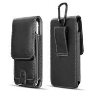 Premium Vertical Leather Pouch Case with Carabiner Clip - Black 55133