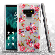 Full Glitter Diamond Hybrid Protective Case for Samsung Galaxy Note 9 - Vintage Rose Bush