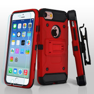 3-IN-1 Kinetic Hybrid Armor Case with Holster and Tempered Glass Screen Protector for iPhone 6 / 6S - Red