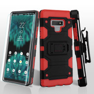 Military Grade Certified Storm Tank Hybrid Case with Holster and Screen Protector for Samsung Galaxy Note 9 - Black Red