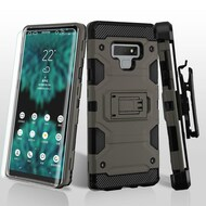 Military Grade Certified Storm Tank Hybrid Case with Holster and Screen Protector for Samsung Galaxy Note 9 - Grey