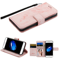 Marble Essential Leather Wallet Stand Case for iPhone 8 / 7 - Pink