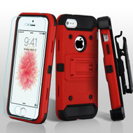 3-IN-1 Kinetic Hybrid Armor Case with Holster and Tempered Glass Screen Protector for iPhone SE / 5S / 5 - Red