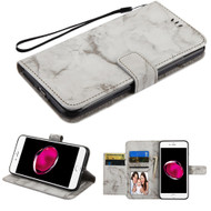 Marble Essential Leather Wallet Stand Case for iPhone 8 Plus / 7 Plus - Grey