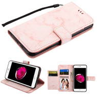 Marble Essential Leather Wallet Stand Case for iPhone 8 Plus / 7 Plus - Pink