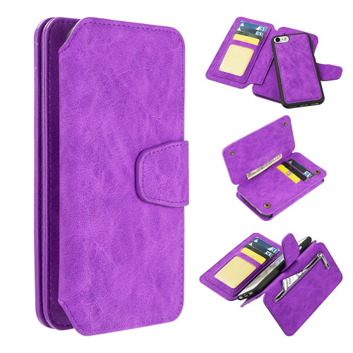 3-IN-1 Luxury Coach Series Leather Wallet with Detachable Magnetic Case for iPhone 8 / 7 / 6S / 6 - Purple