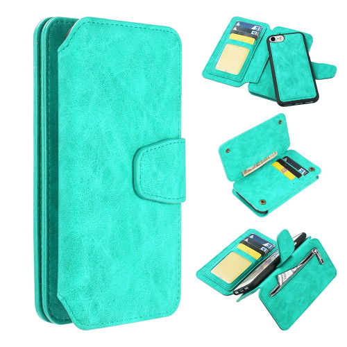 3-IN-1 Luxury Coach Series Leather Wallet with Detachable Magnetic Case for iPhone 8 / 7 / 6S / 6 - Teal Green