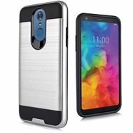 Brushed Coated Hybrid Armor Case for LG Q7 Plus - Silver
