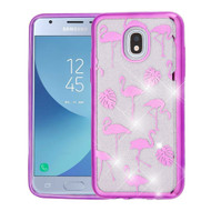 Electroplating Quicksand Glitter Transparent Case for Samsung Galaxy J3 (2018) - Purple Flamingo Land