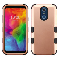 Military Grade Certified TUFF Hybrid Armor Case for LG Q7 Plus - Rose Gold 059