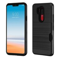 ID Card Slot Hybrid Case for LG G7 ThinQ - Black