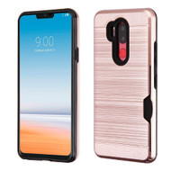 ID Card Slot Hybrid Case for LG G7 ThinQ - Rose Gold