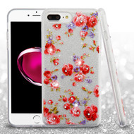 Full Glitter Diamond Hybrid Protective Case for iPhone 8 Plus / 7 Plus - Vintage Rose Bush