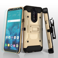 3-IN-1 Kinetic Hybrid Armor Case with Holster and Tempered Glass Screen Protector for LG Stylo 4 - Gold