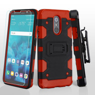 Military Grade Certified Storm Tank Hybrid Case + Holster + Tempered Glass Screen Protector for LG Stylo 4 - Black Red