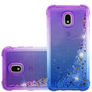 Confetti Quicksand Glitter Electroplating Transparent Case for Samsung Galaxy J3 (2018) - Purple Blue