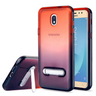 Bumper Shield Clear Transparent TPU Case with Magnetic Kickstand for Samsung Galaxy J7 (2018) - Black Red