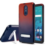 Bumper Shield Clear Transparent TPU Case with Magnetic Kickstand for LG Stylo 4 - Black Red