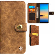 Faux Suede Leather Wallet with Detachable Magnetic Case for Samsung Galaxy Note 9 - Brown