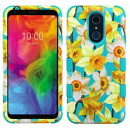 Military Grade Certified TUFF Hybrid Armor Case for LG Q7 Plus - Spring Daffodils