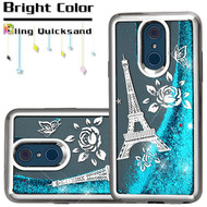Electroplating Quicksand Glitter Transparent Case for LG Q7 Plus - Eiffel Tower Silver