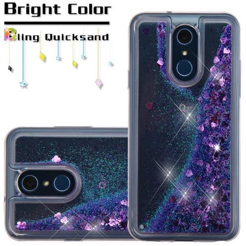 Quicksand Glitter Transparent Case for LG Q7 Plus - Purple