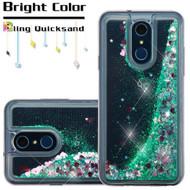 Quicksand Glitter Transparent Case for LG Q7 Plus - Teal Green
