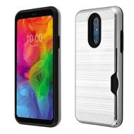 ID Card Slot Hybrid Case for LG Q7 Plus - Silver