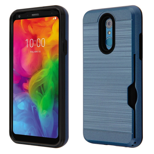 ID Card Slot Hybrid Case for LG Q7 Plus - Ink Blue