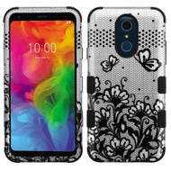 Military Grade Certified TUFF Hybrid Armor Case for LG Q7 Plus - Lace Flowers Black