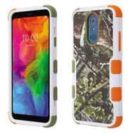 Military Grade Certified TUFF Hybrid Armor Case for LG Q7 Plus - English Oak Hunting Camouflage