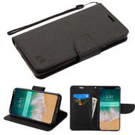 Diary Leather Wallet Stand Case for iPhone XS Max - Black