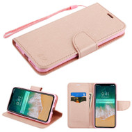 Diary Leather Wallet Stand Case for iPhone XS Max - Rose Gold