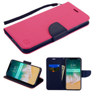Diary Leather Wallet Stand Case for iPhone XS Max - Hot Pink Navy Blue