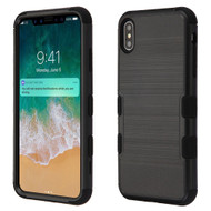 Military Grade Certified Brushed TUFF Hybrid Case for iPhone XS Max - Black