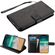 Embossed Butterfly Flower Leather-Style Wallet Stand Case for iPhone XS Max - Black