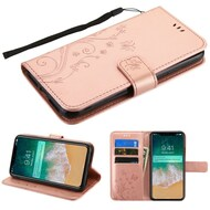 Embossed Butterfly Flower Leather-Style Wallet Stand Case for iPhone XS Max - Rose Gold