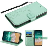 Embossed Butterfly Flower Leather-Style Wallet Stand Case for iPhone XS Max - Teal Green