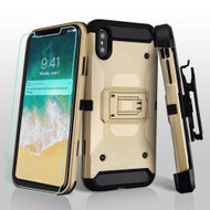 3-IN-1 Kinetic Hybrid Armor Case with Holster and Screen Protector for iPhone XS Max - Gold
