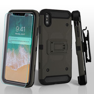 3-IN-1 Kinetic Hybrid Armor Case with Holster and Screen Protector for iPhone XS Max - Grey