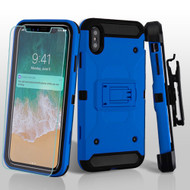 3-IN-1 Kinetic Hybrid Armor Case with Holster and Screen Protector for iPhone XS Max - Blue