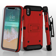3-IN-1 Kinetic Hybrid Armor Case with Holster and Screen Protector for iPhone XS Max - Red