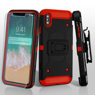 3-IN-1 Kinetic Hybrid Armor Case with Holster and Screen Protector for iPhone XS Max - Black Red