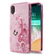 Tuff Full Glitter Diamond Hybrid Protective Case for iPhone XS Max - Butterfly Flowers