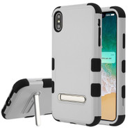 Military Grade Certified TUFF Hybrid Armor Case with Stand for iPhone XS Max - Grey