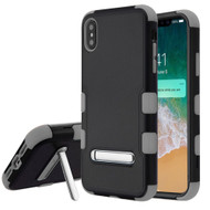 Military Grade Certified TUFF Hybrid Armor Case with Stand for iPhone XS Max - Black Grey