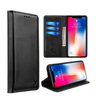 2-IN-1 Luxury Magnetic Leather Wallet Case for iPhone XS Max - Black