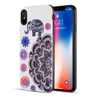 Art Pop Series 3D Embossed Printing Hybrid Case for iPhone XS Max - Elephant Mandala