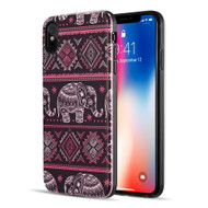 Art Pop Series 3D Embossed Printing Hybrid Case for iPhone XS Max - Aztec Elephant